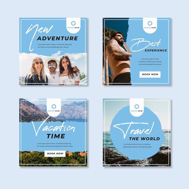 여행 판매 인스 타 그램 게시물 수집 무료 벡터