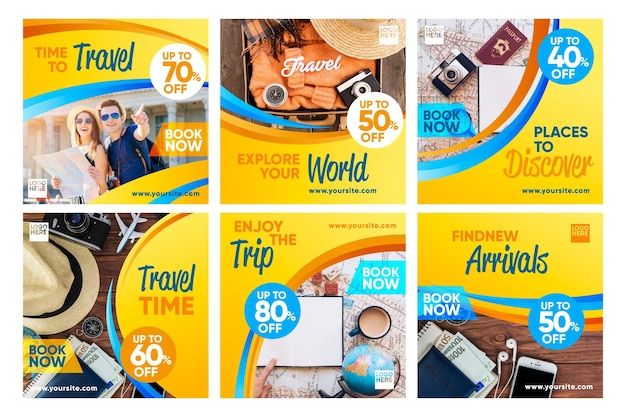Travel sale instagram post collection Free Vector