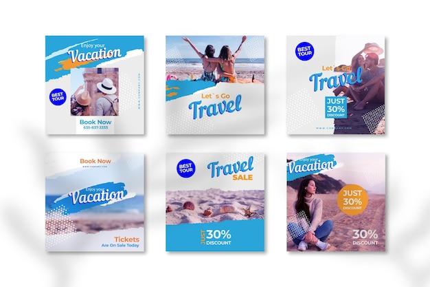 여행 판매 인스 타 그램 게시물 수집 프리미엄 벡터