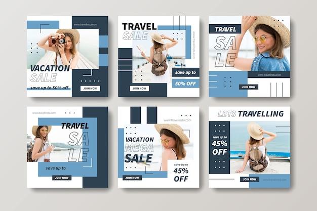 Collezione di post di instagram di vendita di viaggi Vettore gratuito