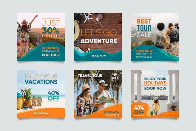여행 판매 인스 타 그램 포스트 세트 무료 벡터