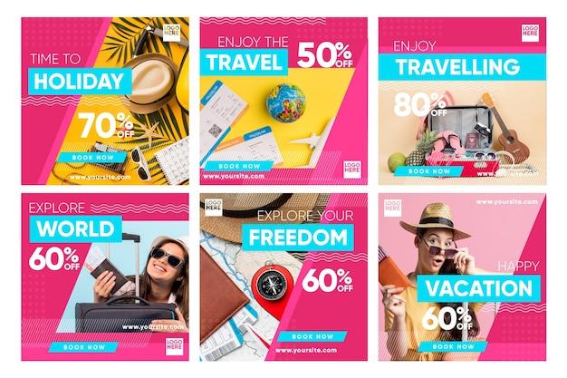 여행 판매 인스 타 그램 포스트 세트 프리미엄 벡터