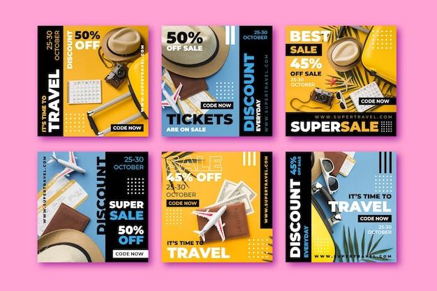 여행 판매 Instagram 게시물 모음 프리미엄 벡터