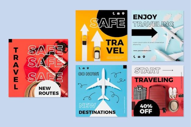 여행 판매 인스 타 그램 게시물 팩 무료 벡터