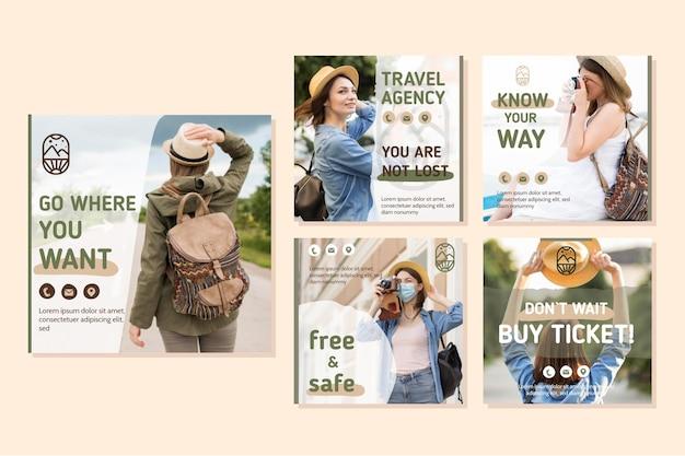 여행 판매 instagram 게시물 세트 무료 벡터
