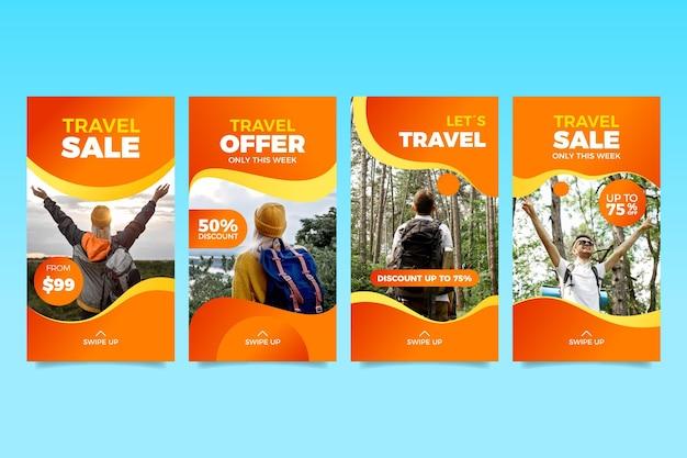 여행 판매 인스 타 그램 스토리 컬렉션 프리미엄 벡터