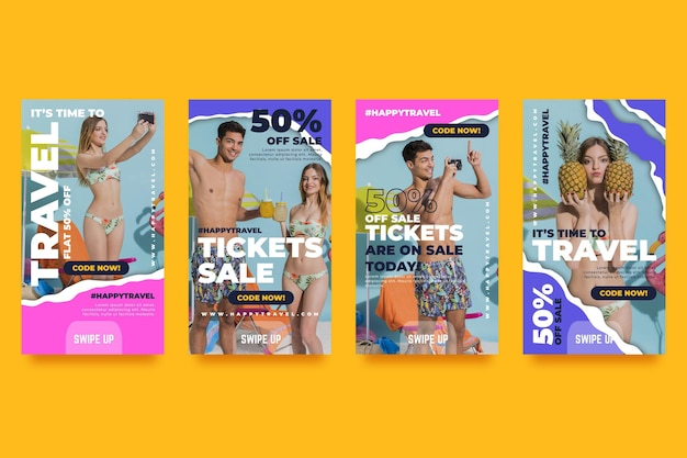 Travel sale instagram stories collection Premium Vector