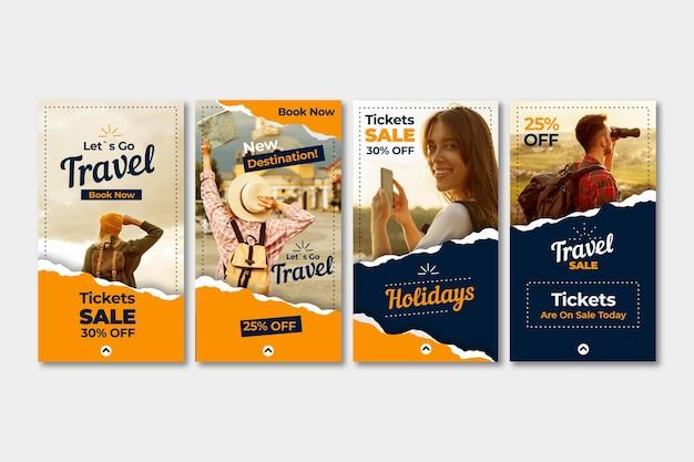 Raccolta di storie di instagram di vendita di viaggi Vettore gratuito
