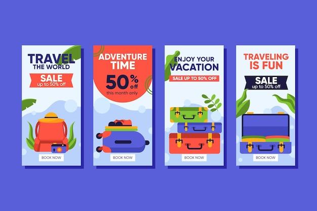 여행 판매 인스 타 그램 스토리 컬렉션 무료 벡터
