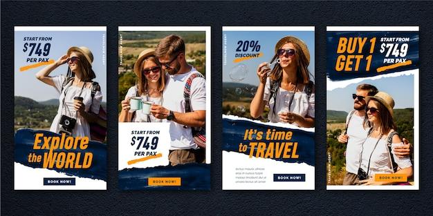 Travel sale instagram stories pack Premium Vector