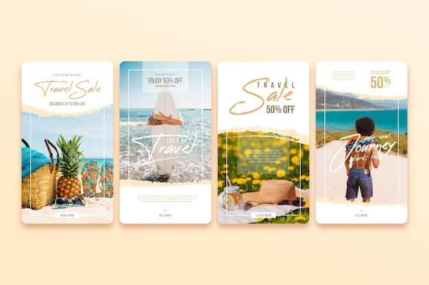Travel sale instagram stories pack Free Vector