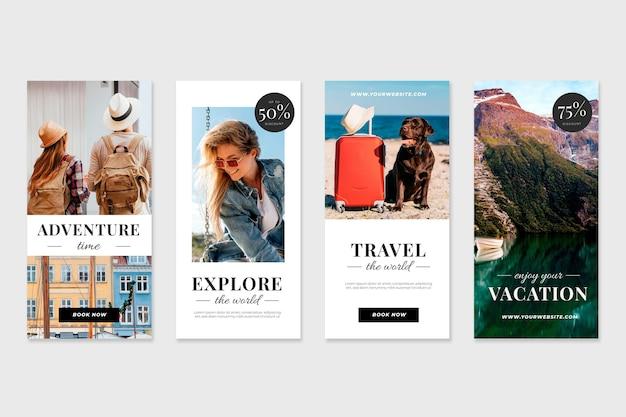 Travel sale instagram stories Free Vector