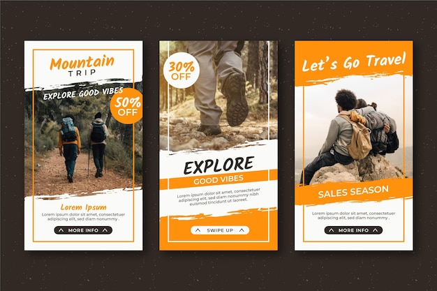 Travel sale instagram stories Premium Vector