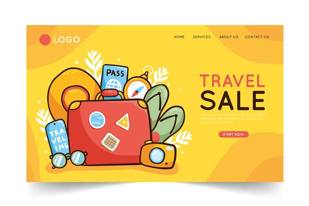 Travel sale - landing page concept Free Vector