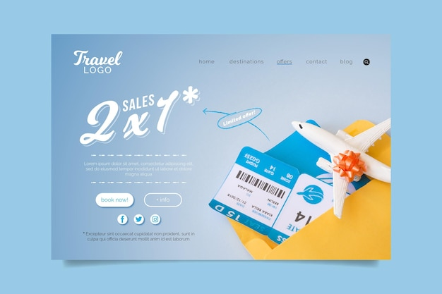 Travel sale landing page design with photo Free Vector