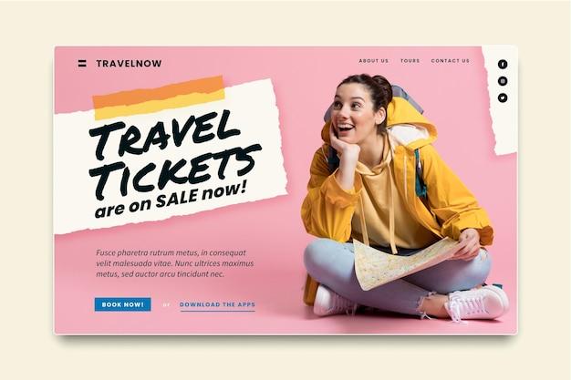 Modello di pagina di destinazione per la vendita di viaggi Vettore gratuito