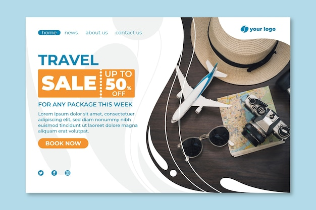 Travel sale landing page template Free Vector