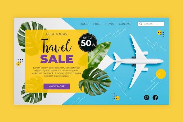 Целевая страница распродажи путешествий с изображением Бесплатные векторы