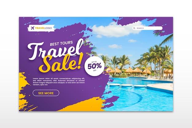 Целевая страница продажи путешествий с фотографией Бесплатные векторы