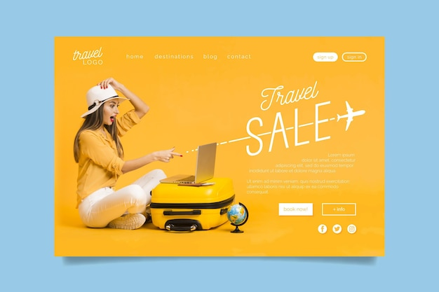 Travel sale landing page with photo Free Vector