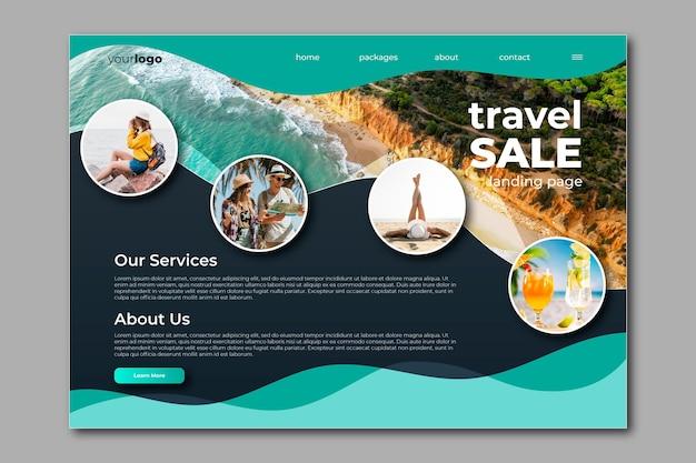 Целевая страница распродажи путешествий Бесплатные векторы