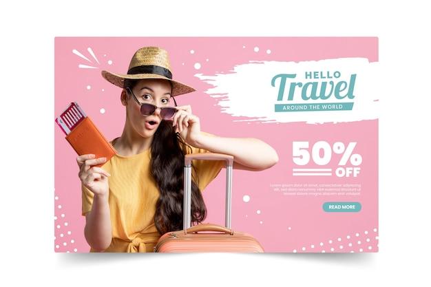 Vendita di viaggi con pagina di destinazione fotografica Vettore gratuito