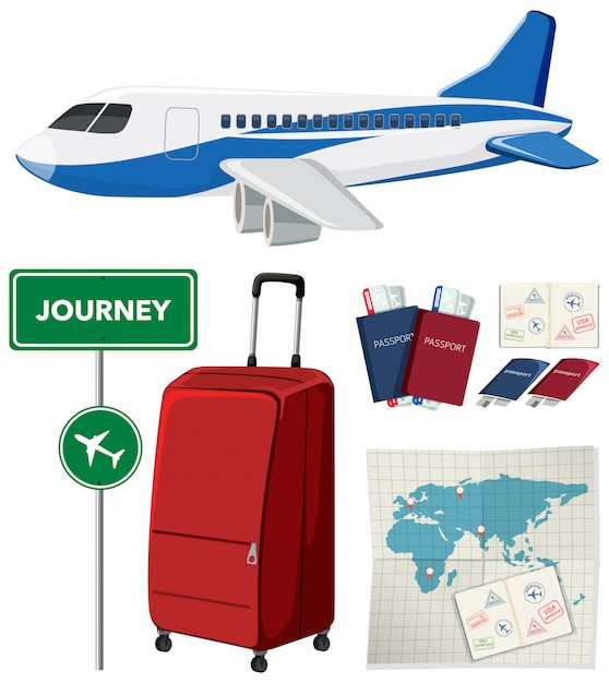 Travel set with airplane and other items on white background Free Vector