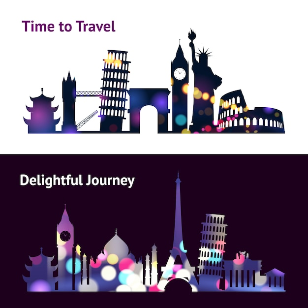 Travel sights banners Free Vector