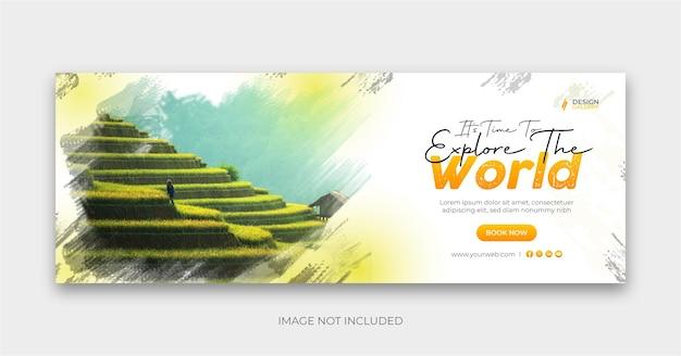 Travel social banner cover design explore the world Premium Vector