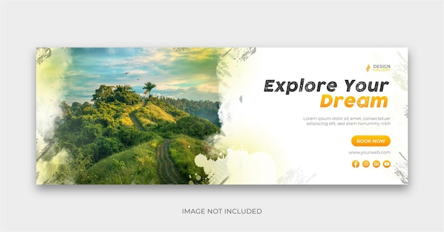 Travel social banner cover design explore the world Premium Vector
