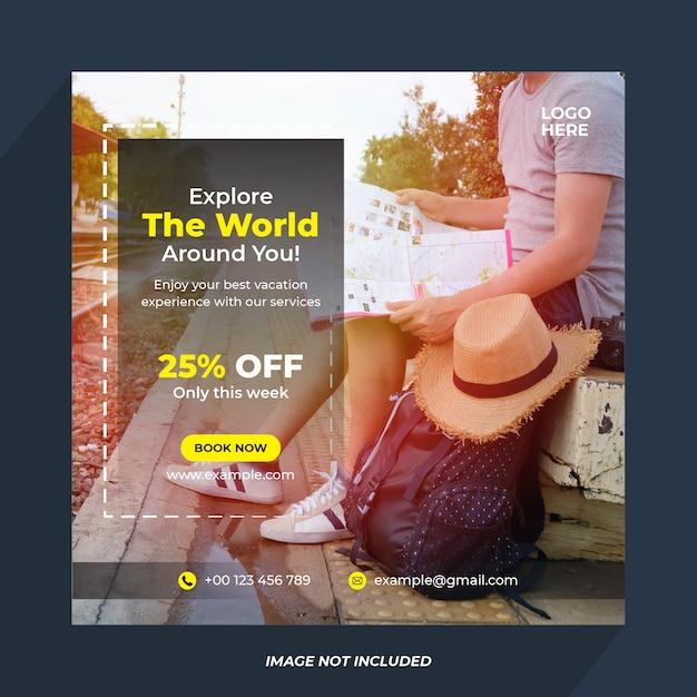 旅行ソーシャルメディアバナーテンプレート Premiumベクター