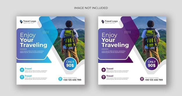 Travel social media post square banner template Premium Vector