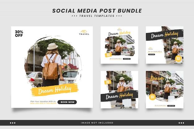 Travel social media post templates with brush Premium Vector