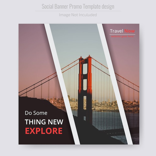 Travel square flyer template Premium Vector