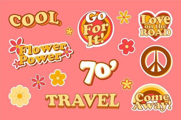 Travel sticker collection in 70s style Premium Vector
