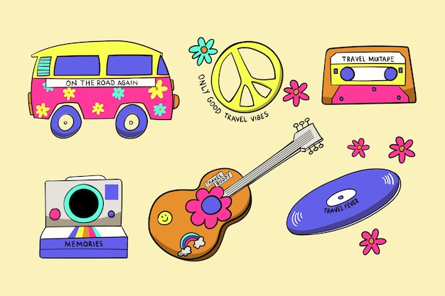 Travel sticker collection in 70s style Free Vector