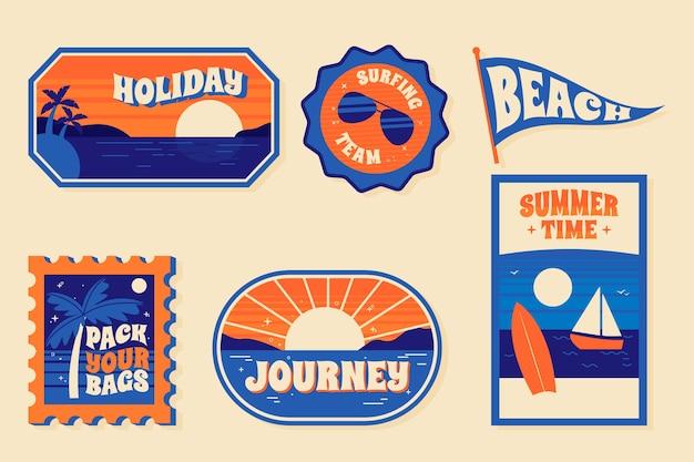 Travel sticker collection concept Premium Vector