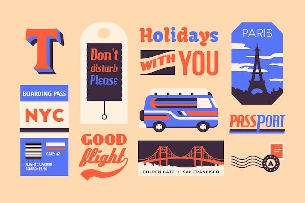 Коллекция стикеров travel в стиле 70-х годов Бесплатные векторы