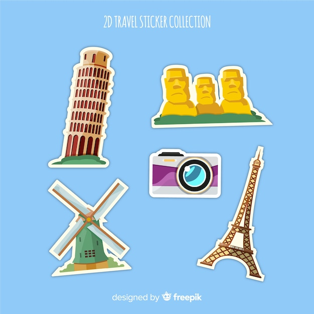 Travel sticker collection Free Vector