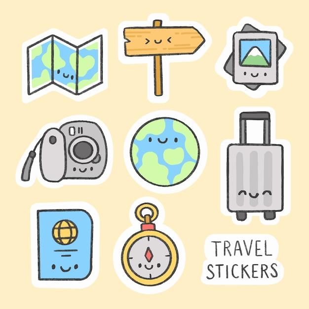 Travel sticker hand drawn cartoon collection Premium Vector