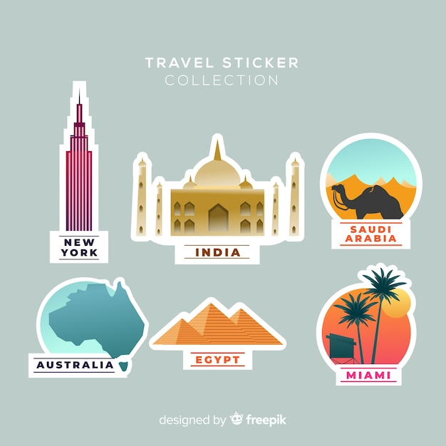 Travel stickers collection Free Vector