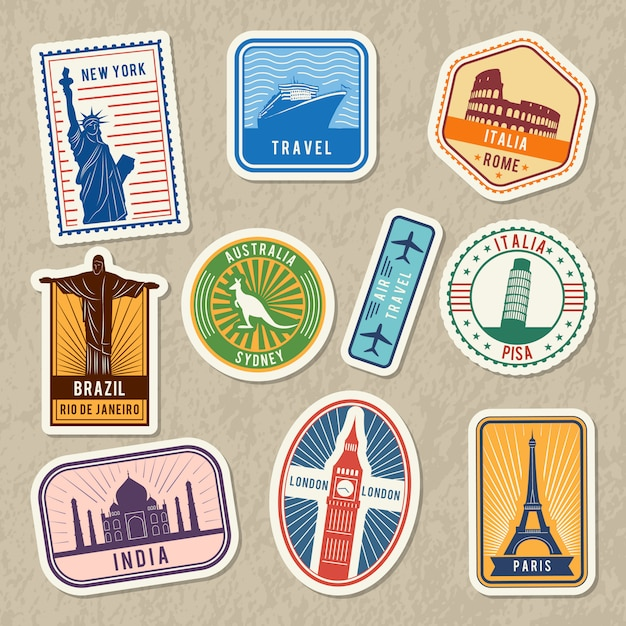 Travel stickers set with different worldwide architectural symbols. vector labels with grunge textur Premium Vector
