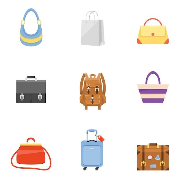 Valigia da viaggio, valigetta aziendale, borsa della spesa e icone dello zaino Vettore gratuito
