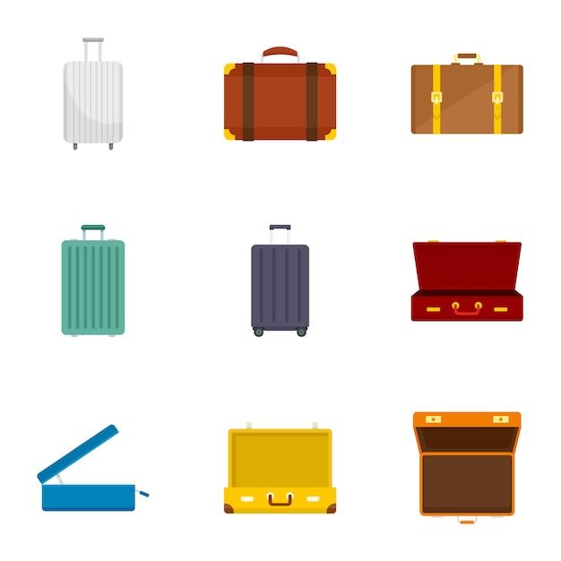 Travel suitcase icon set. flat set of 9 travel suitcase icons Premium Vector