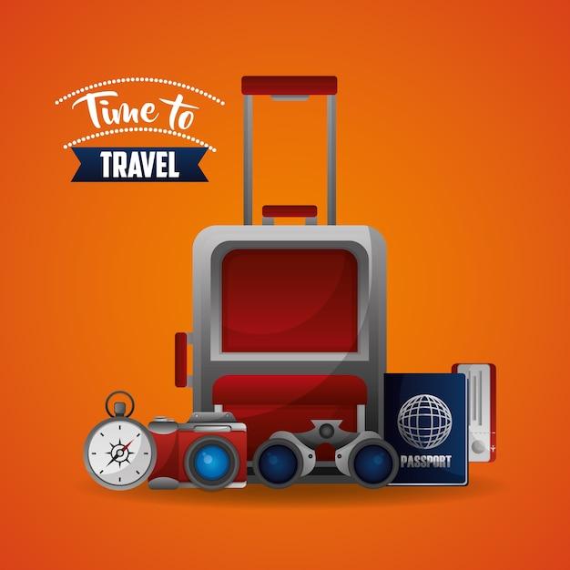 旅行スーツケースマップチケットコンパスと双眼鏡 Premiumベクター