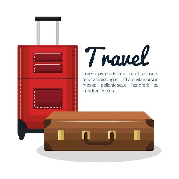 Путешествия чемоданы дизайн изолированных Premium векторы