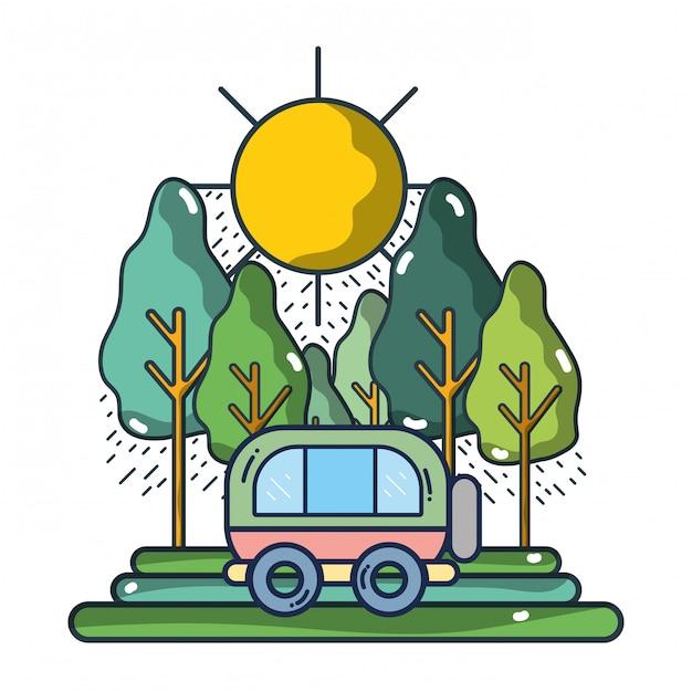 Travel and summer cartoons Premium Vector