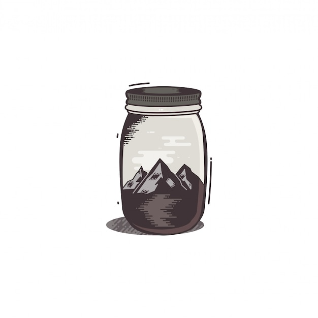 Travel t-shirt print. the mountains and river in jar Premium Vector