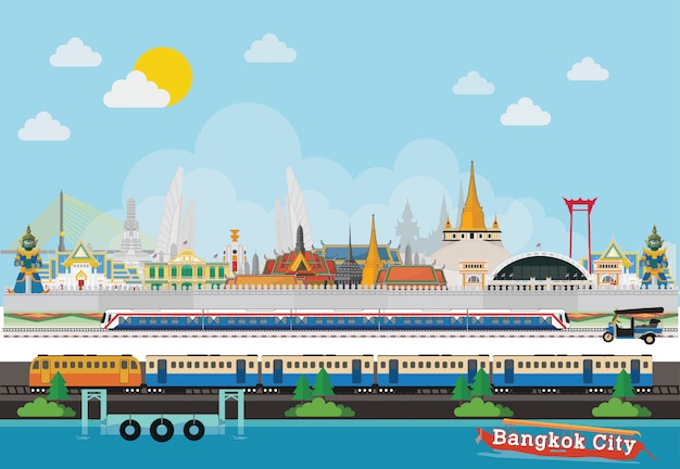 Travel to thailand beautiful places Premium Vector