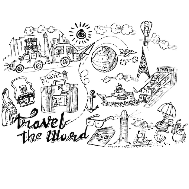 Travel The Word Doodle Premium Vector